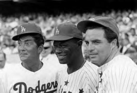 celebrity baseball game -  dean martinnat king colevince edwards 1964